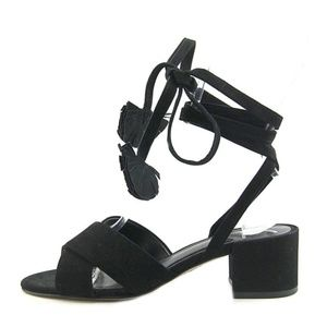 Brian Atwood black suede lace up gladiator sandals